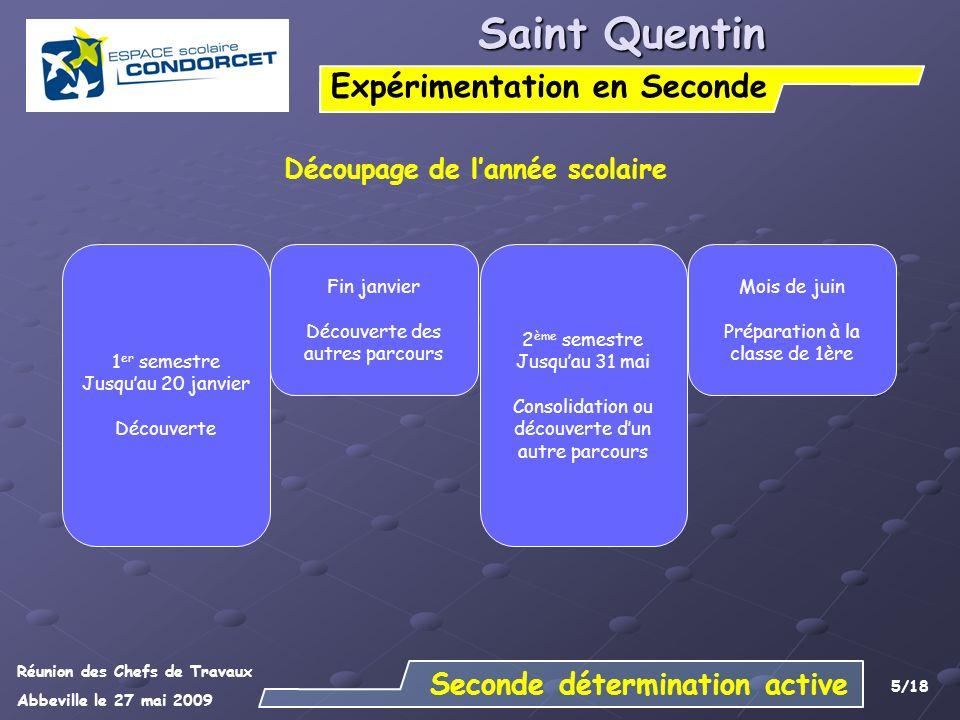 Réunion des Chefs de Travaux Abbeville le 27 mai 2009 6/18 Saint Quentin Expérimentation en Seconde Aide à lorientation Dernière semaine de cours de décembre : - Organisation de tests dévaluation pour situer les élèves par rapport aux exigences des filières de première.