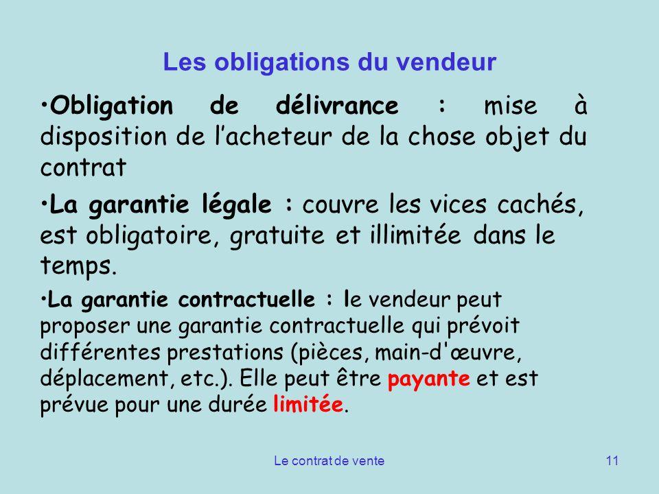 Le contrat de vente11 Les obligations du vendeur Obligation de délivrance : mise à disposition de lacheteur de la chose objet du contrat La garantie l