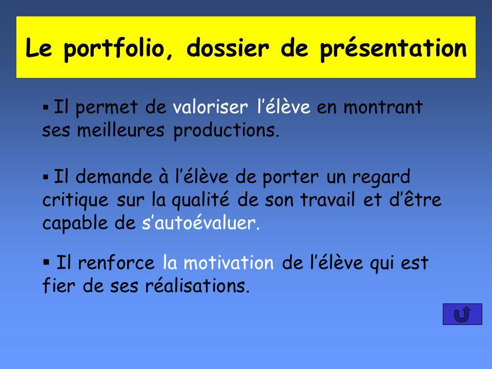 Le portfolio, dossier de présentation Il permet de valoriser lélève en montrant ses meilleures productions. Il demande à lélève de porter un regard cr