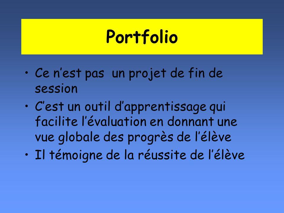 Portfolio Ce nest pas un projet de fin de session Cest un outil dapprentissage qui facilite lévaluation en donnant une vue globale des progrès de lélè