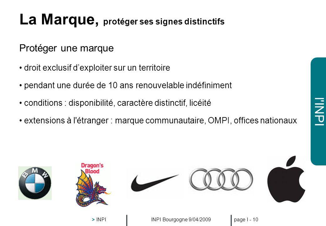 l'INPI INPI Bourgogne 9/04/2009 > INPI page I - 9 Protéger les aspects esthétiques : le Dessin ou le Modèle droit exclusif dexploiter sur un territoir