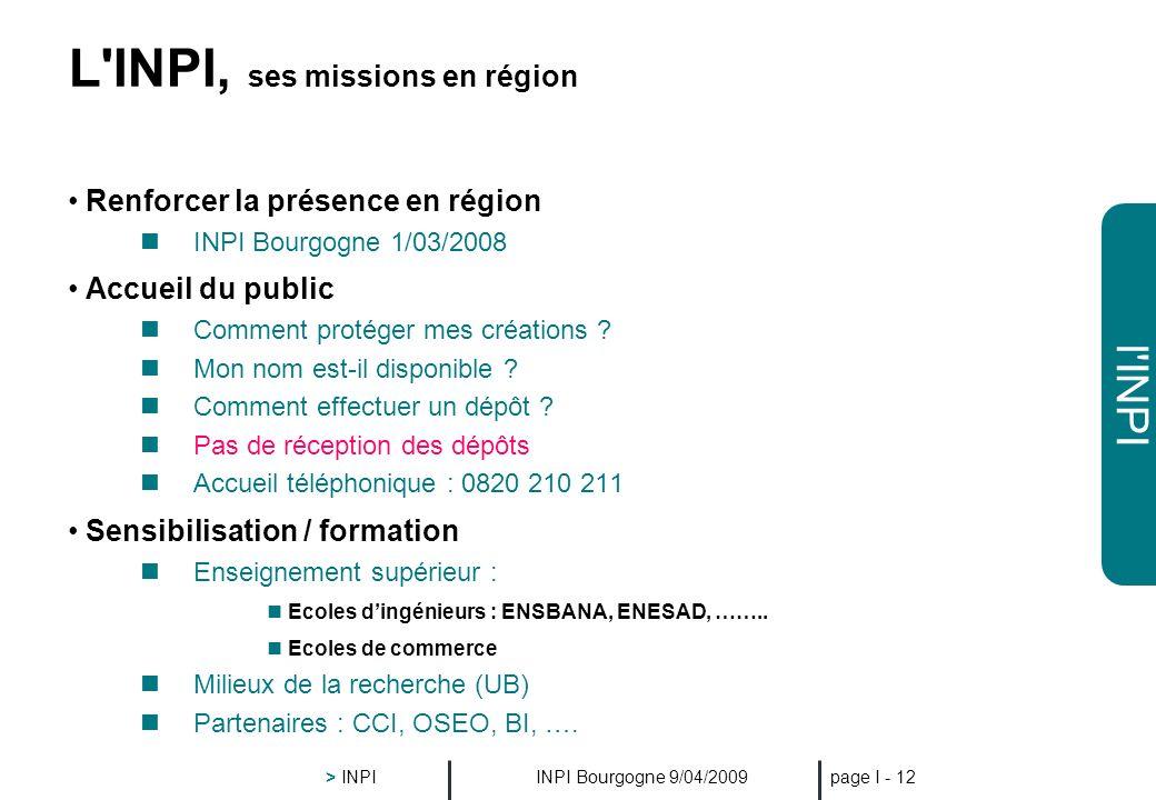 l'INPI INPI Bourgogne 9/04/2009 > INPI page I - 11 La PI, au cœur de la chaîne de l'innovation Un produit, plusieurs protections L'esthétique (forme,