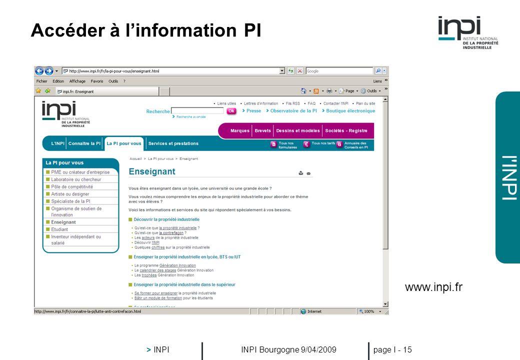 l'INPI INPI Bourgogne 9/04/2009 > INPI page I - 14 Accéder à linformation PI www.inpi.fr