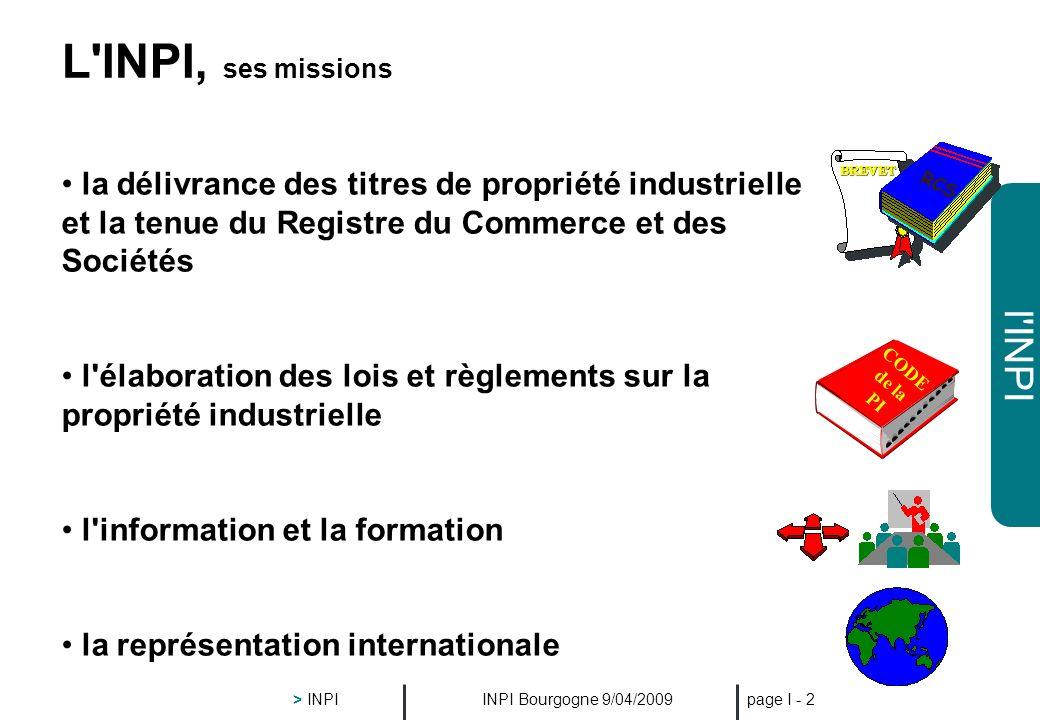 l'INPI INPI Bourgogne 9/04/2009 > INPI page I - 1 L'INPI Établissement Public créé par la loi n° 51-444 du 19 avril 1951 doté de l'autonomie financièr