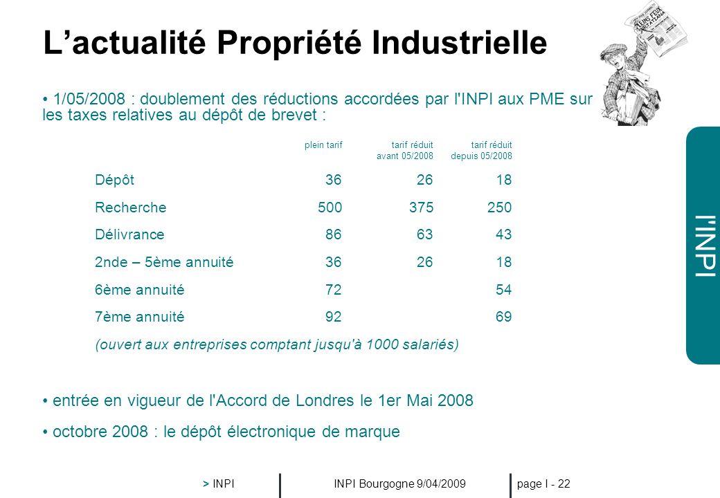 l'INPI INPI Bourgogne 9/04/2009 > INPI page I - 21 Le D&M, laccès à linformation http://bases- modeles.inpi.fr/ Nouveau !