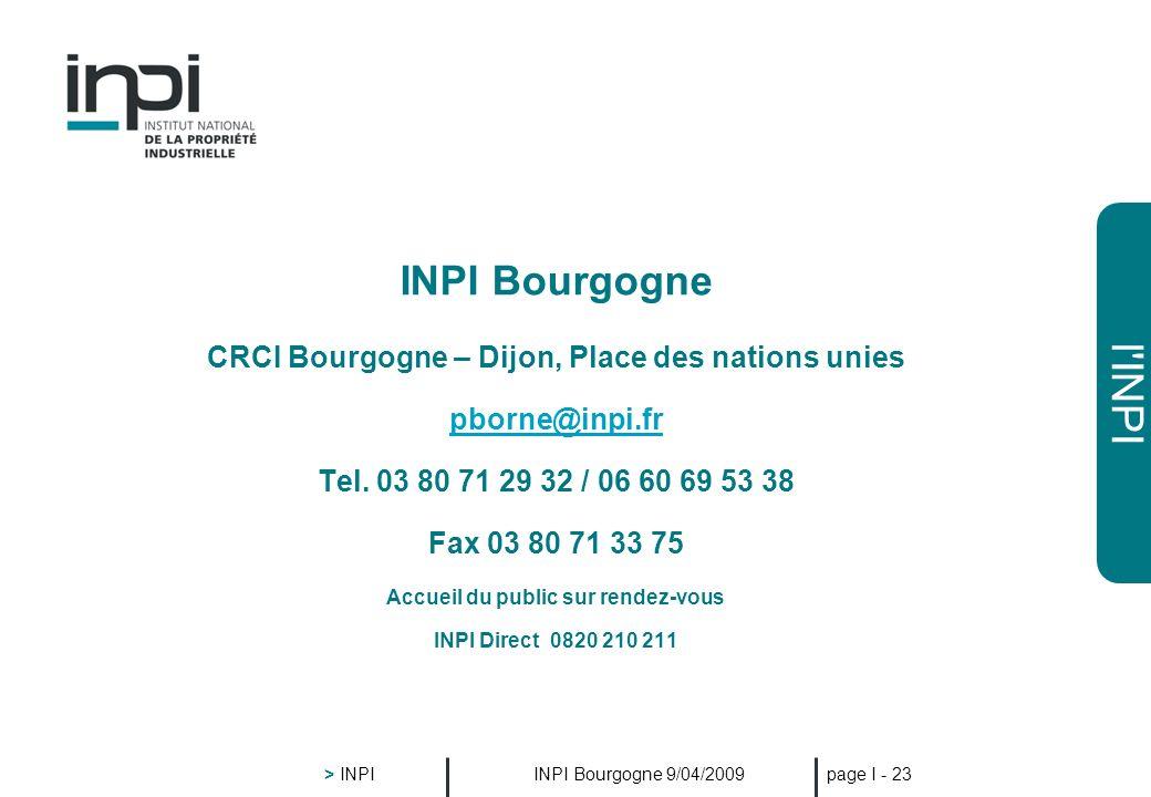 l'INPI INPI Bourgogne 9/04/2009 > INPI page I - 22 1/05/2008 : doublement des réductions accordées par l'INPI aux PME sur les taxes relatives au dépôt