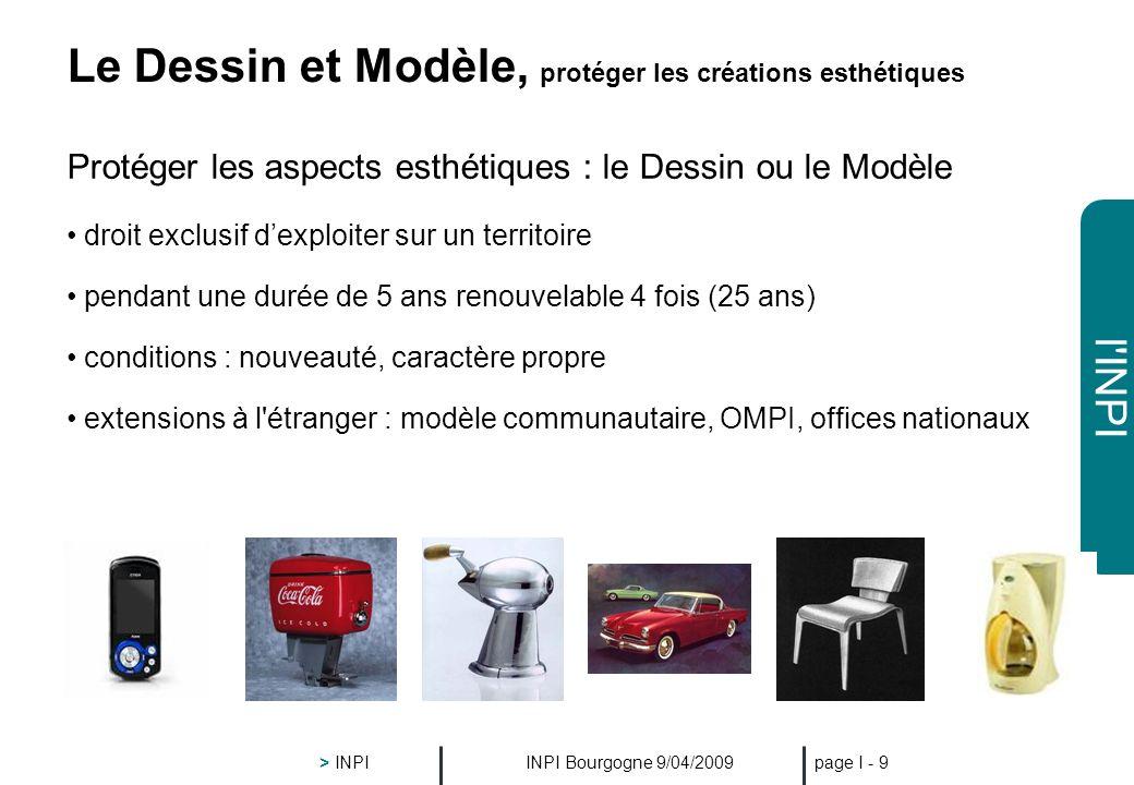 l'INPI INPI Bourgogne 9/04/2009 > INPI page I - 8 Le Brevet droit exclusif dexploiter sur un territoire pendant une durée limitée ( 20 ans ) moyennant