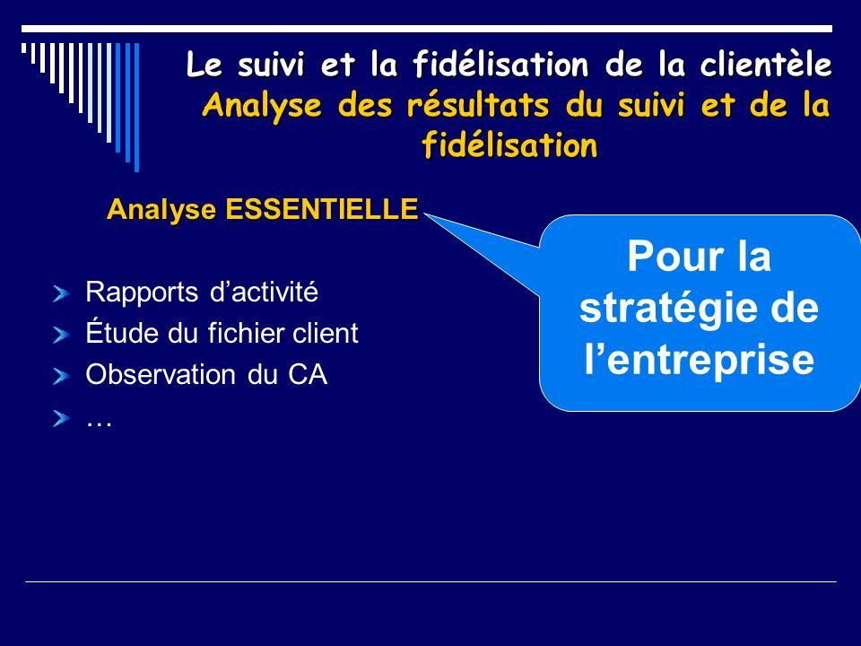 Le suivi et la fidélisation de la clientèle Analyse des résultats du suivi et de la fidélisation Analyse ESSENTIELLE Rapports dactivité Étude du fichi