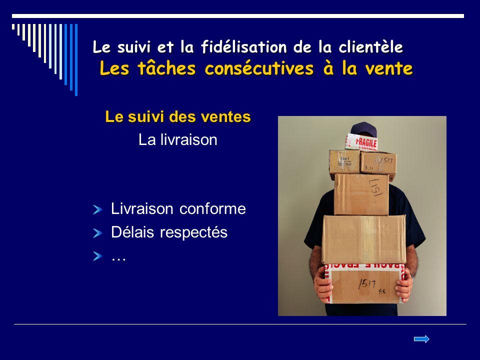 Le suivi et la fidélisation de la clientèle Les tâches consécutives à la vente Le suivi des ventes La livraison Livraison conforme Délais respectés …