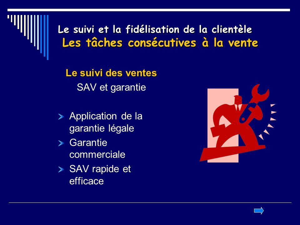 Le suivi et la fidélisation de la clientèle Les tâches consécutives à la vente Le suivi des ventes SAV et garantie Application de la garantie légale G
