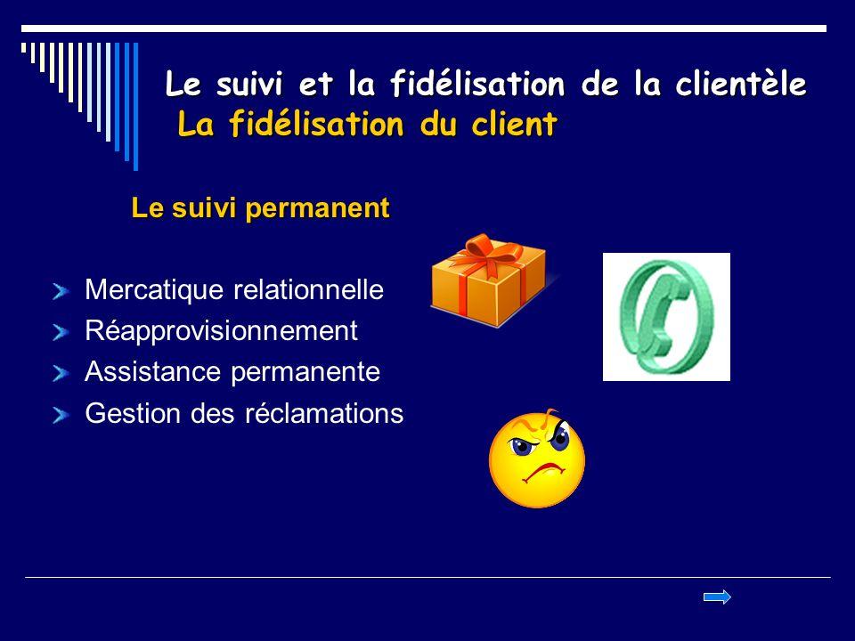 Le suivi et la fidélisation de la clientèle La fidélisation du client Le suivi permanent Mercatique relationnelle Réapprovisionnement Assistance perma