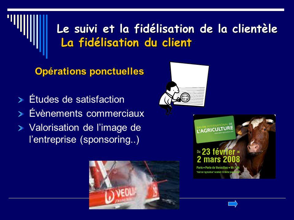 Le suivi et la fidélisation de la clientèle La fidélisation du client Opérations ponctuelles Études de satisfaction Évènements commerciaux Valorisatio