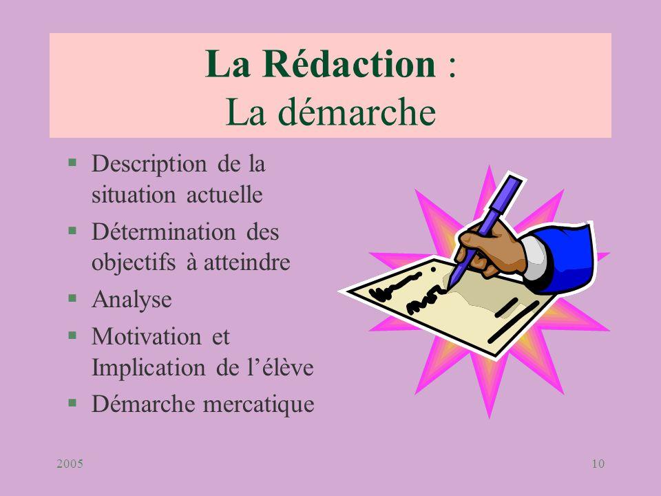 200510 La Rédaction : La démarche §Description de la situation actuelle §Détermination des objectifs à atteindre §Analyse §Motivation et Implication d