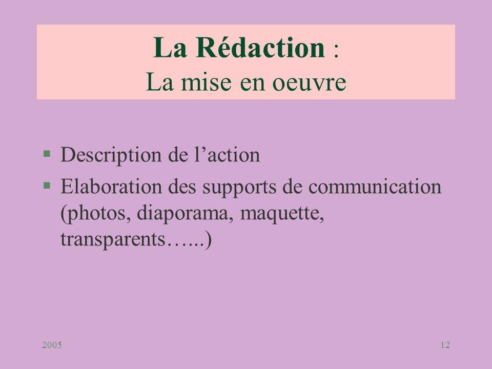 200512 §Description de laction §Elaboration des supports de communication (photos, diaporama, maquette, transparents…...) La Rédaction : La mise en oe