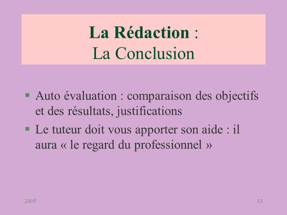 200513 La Rédaction : La Conclusion §Auto évaluation : comparaison des objectifs et des résultats, justifications §Le tuteur doit vous apporter son ai