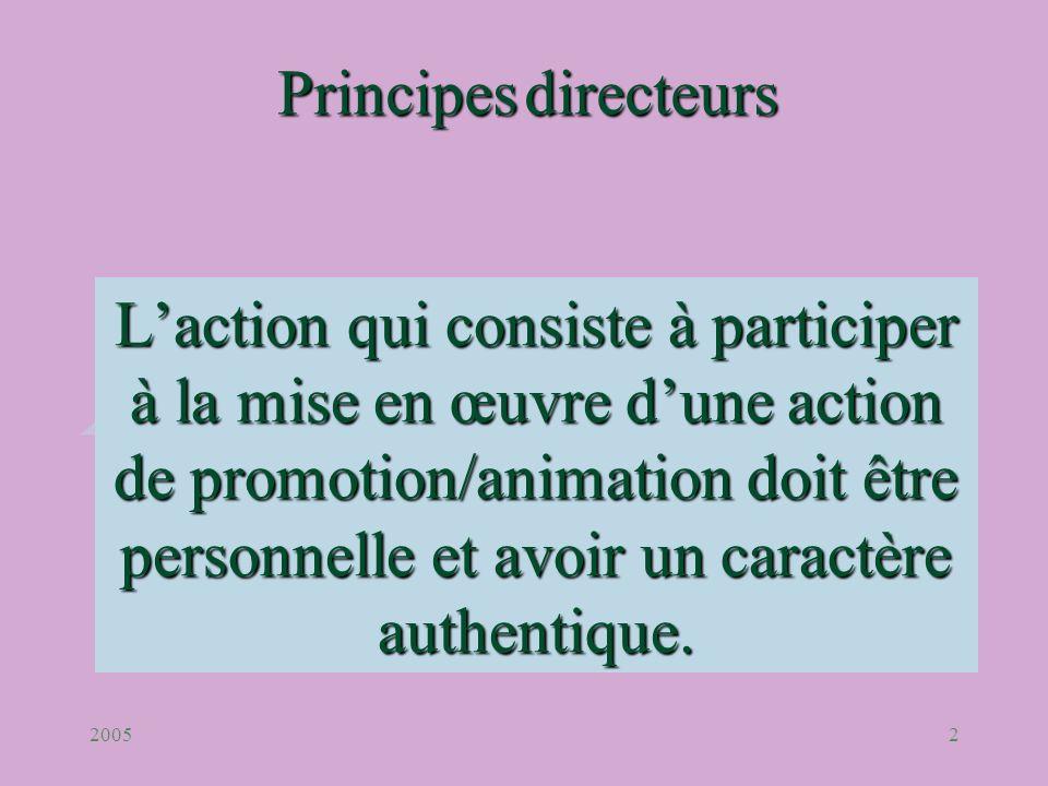 20052 Laction qui consiste à participer à la mise en œuvre dune action de promotion/animation doit être personnelle et avoir un caractère authentique.