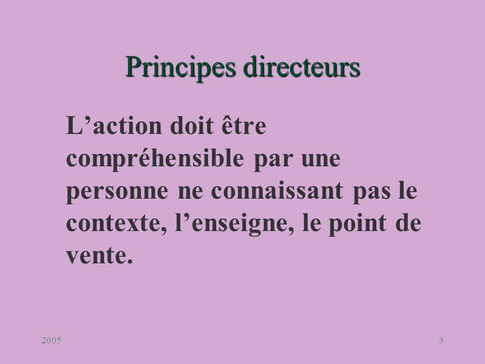 20053 Principesdirecteurs Principes directeurs Laction doit être compréhensible par une personne ne connaissant pas le contexte, lenseigne, le point d