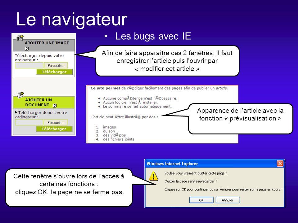 Le navigateur Les bugs avec IE Cette fenêtre souvre lors de laccès à certaines fonctions : cliquez OK, la page ne se ferme pas.