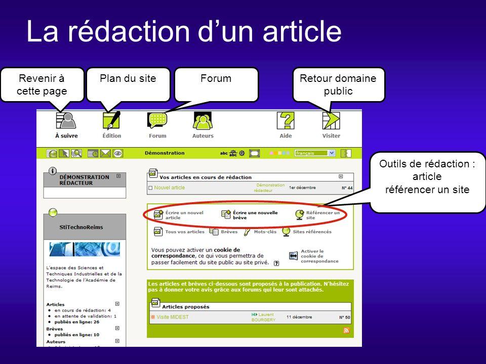 La rédaction dun article Revenir à cette page Plan du siteForumRetour domaine public Outils de rédaction : article référencer un site