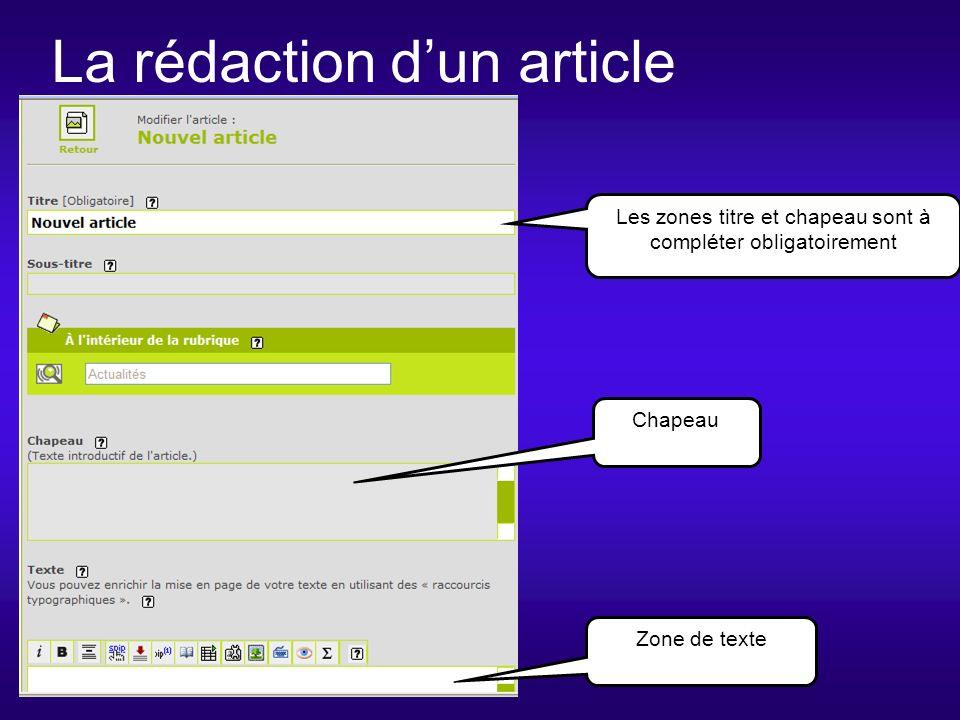 La rédaction dun article Chapeau Les zones titre et chapeau sont à compléter obligatoirement Zone de texte