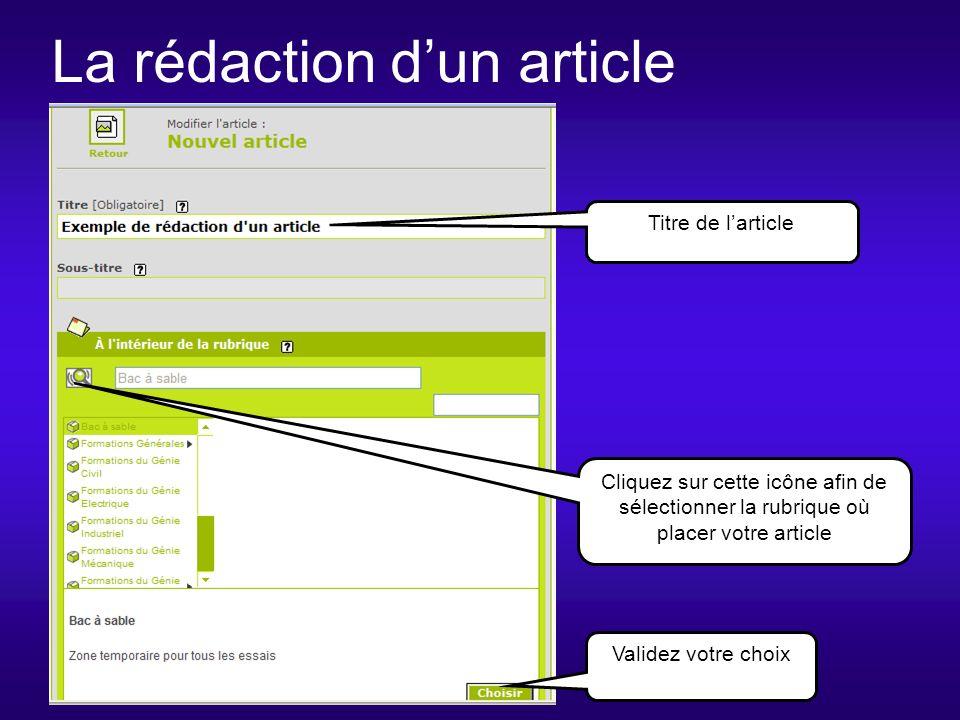 La rédaction dun article Cliquez sur cette icône afin de sélectionner la rubrique où placer votre article Titre de larticle Validez votre choix