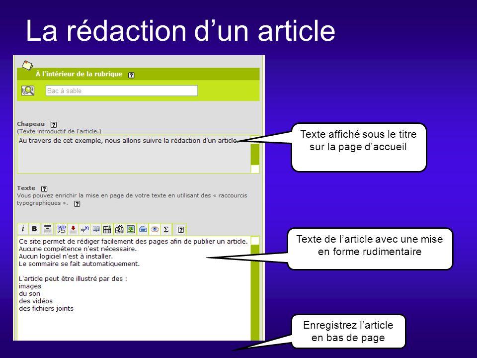 La rédaction dun article Texte de larticle avec une mise en forme rudimentaire Texte affiché sous le titre sur la page daccueil Enregistrez larticle en bas de page