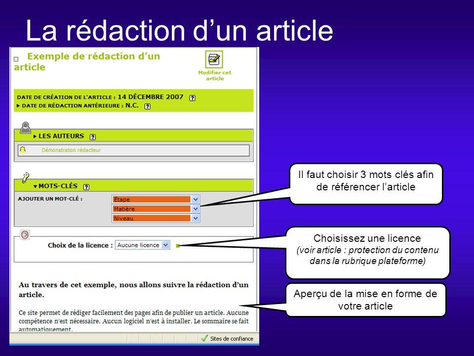 La rédaction dun article Choisissez une licence (voir article : protection du contenu dans la rubrique plateforme) Il faut choisir 3 mots clés afin de référencer larticle Aperçu de la mise en forme de votre article