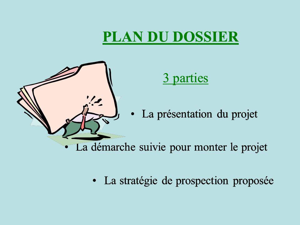 PLAN DU DOSSIER 3 parties La présentation du projet La démarche suivie pour monter le projet La stratégie de prospection proposée PLAN DU DOSSIER 3 pa