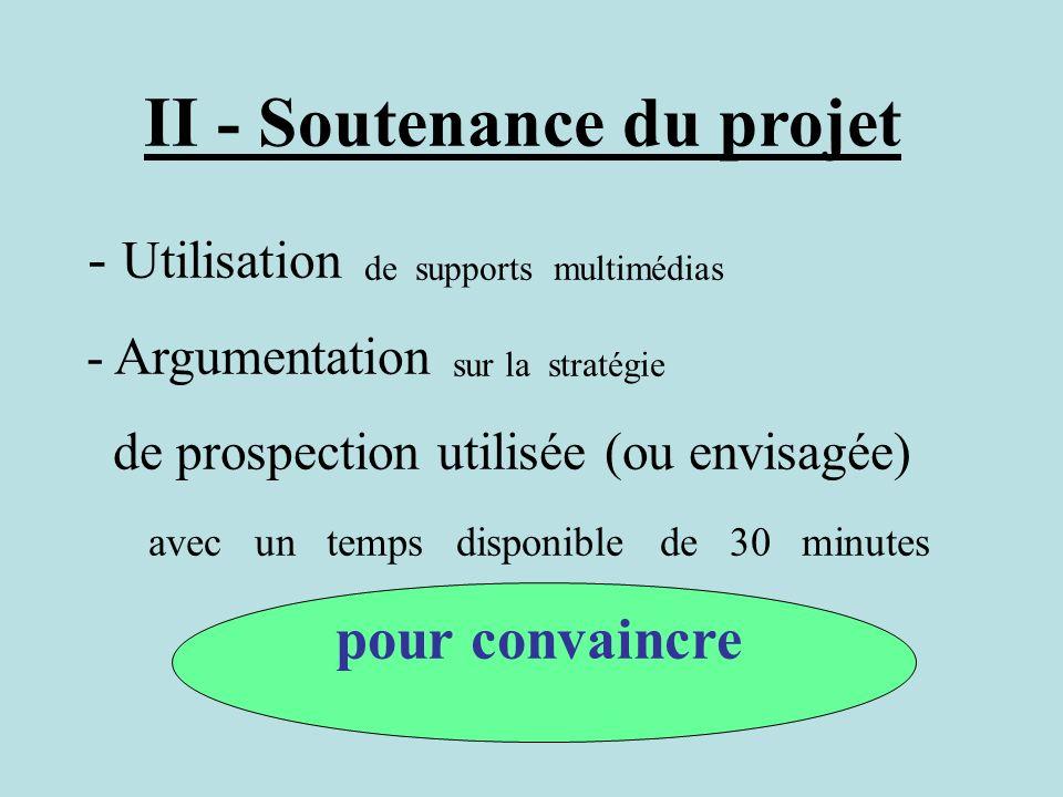II - Soutenance du projet - Utilisation de supports multimédias - Argumentation sur la stratégie de prospection utilisée (ou envisagée) avec un temps
