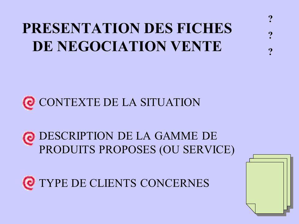 PRESENTATION DES FICHES DE NEGOCIATION VENTE CONTEXTE DE LA SITUATION DESCRIPTION DE LA GAMME DE PRODUITS PROPOSES (OU SERVICE) TYPE DE CLIENTS CONCERNES .
