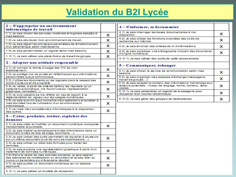 12/12 Validation du B2I Lycée Dans le projet du PST, les élèves recourent aux TIC qui sont des outils au service des activités des futurs techniciens (supérieurs).