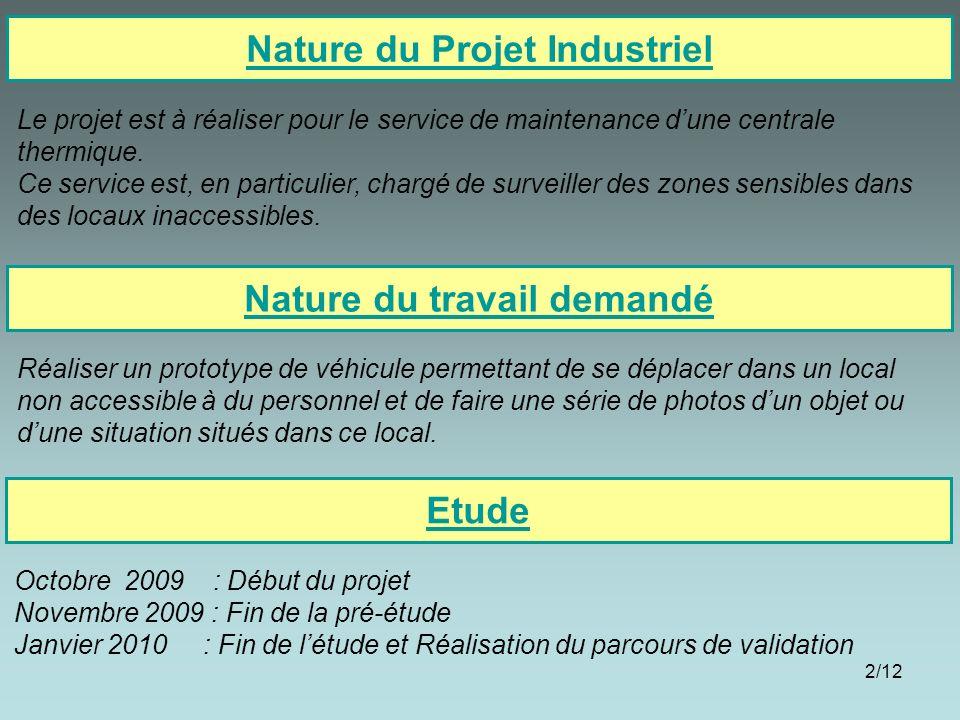 2/12 Nature du Projet Industriel Nature du travail demandé Réaliser un prototype de véhicule permettant de se déplacer dans un local non accessible à
