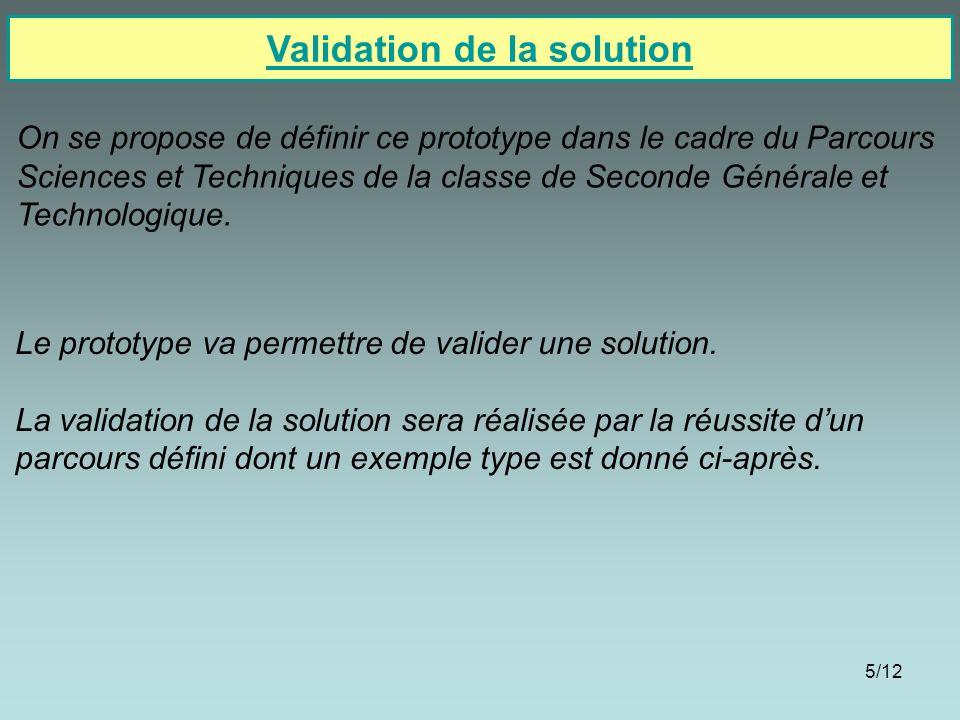 5/12 Validation de la solution On se propose de définir ce prototype dans le cadre du Parcours Sciences et Techniques de la classe de Seconde Générale et Technologique.
