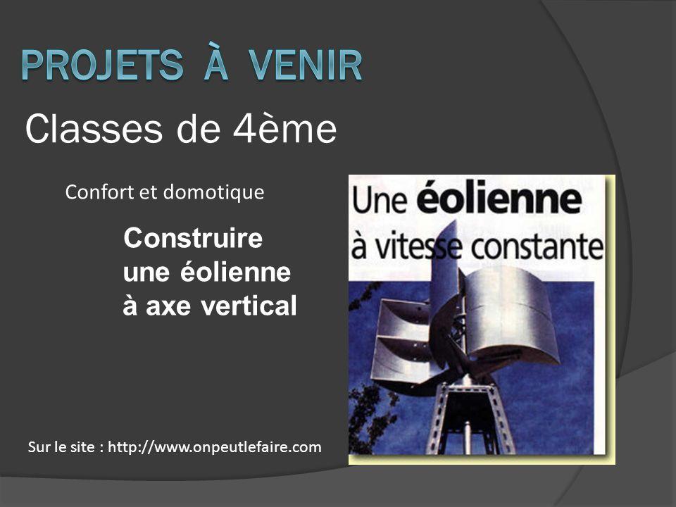 Classes de 4ème Construire une éolienne à axe vertical Sur le site : http://www.onpeutlefaire.com Confort et domotique