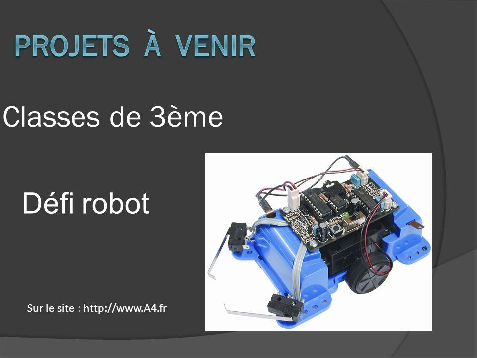 Classes de 3ème Défi robot Sur le site : http://www.A4.fr