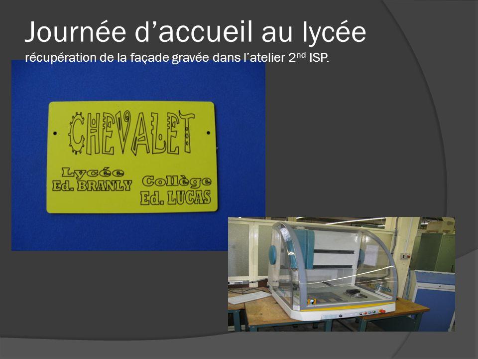 Journée d accueil au lycée récupération de la façade gravée dans latelier 2 nd ISP.