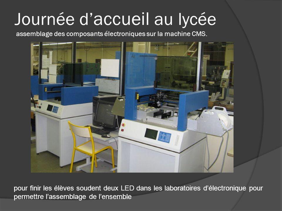 Journée d accueil au lycée assemblage des composants électroniques sur la machine CMS. pour finir les élèves soudent deux LED dans les laboratoires dé