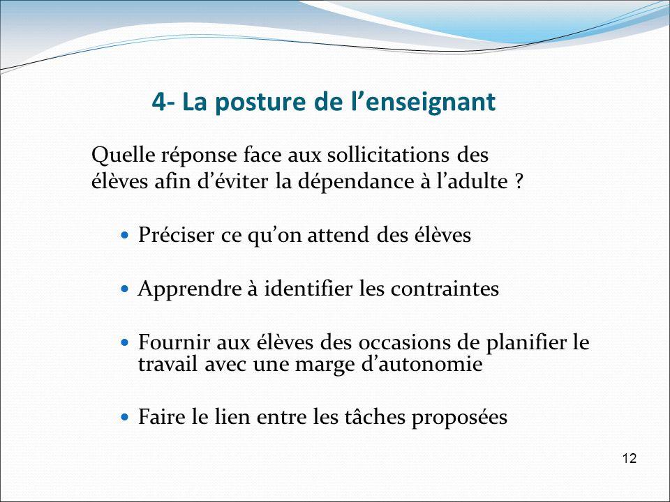 4- La posture de lenseignant Quelle réponse face aux sollicitations des élèves afin déviter la dépendance à ladulte .