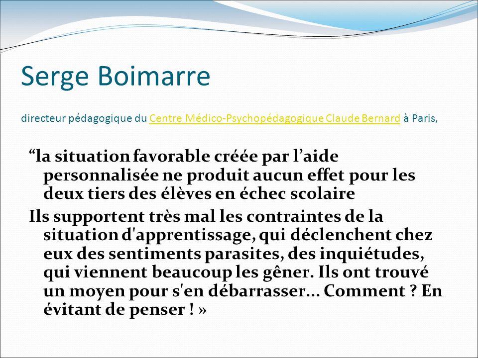 Serge Boimarre directeur pédagogique du Centre Médico-Psychopédagogique Claude Bernard à Paris,Centre Médico-Psychopédagogique Claude Bernard la situa