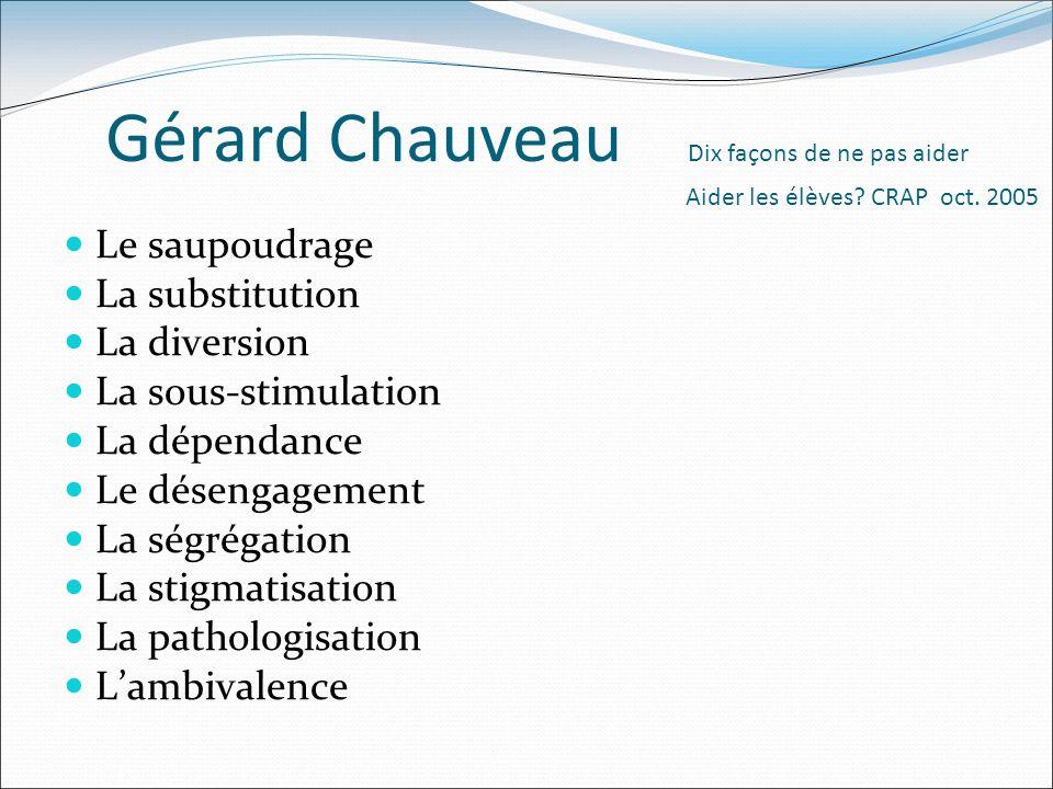 Gérard Chauveau Dix façons de ne pas aider Aider les élèves? CRAP oct. 2005 Le saupoudrage La substitution La diversion La sous-stimulation La dépenda