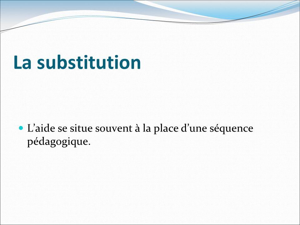 La substitution Laide se situe souvent à la place dune séquence pédagogique.