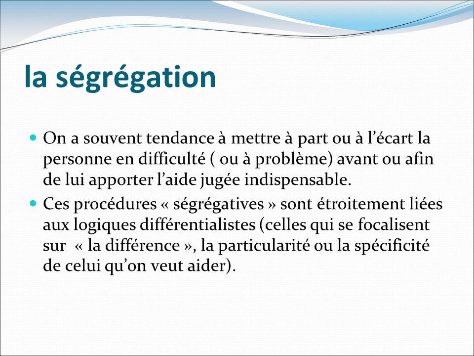la ségrégation On a souvent tendance à mettre à part ou à lécart la personne en difficulté ( ou à problème) avant ou afin de lui apporter laide jugée indispensable.
