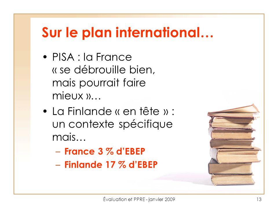 Évaluation et PPRE - janvier 200913 Sur le plan international… PISA : la France « se débrouille bien, mais pourrait faire mieux »… La Finlande « en tête » : un contexte spécifique mais… – France 3 % dEBEP – Finlande 17 % dEBEP
