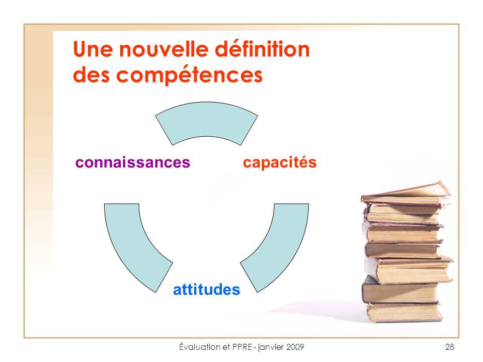 Évaluation et PPRE - janvier 200928 Une nouvelle définition des compétences capacités attitudes connaissances