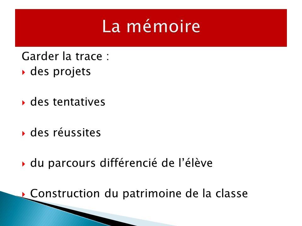 Garder la trace : des projets des tentatives des réussites du parcours différencié de lélève Construction du patrimoine de la classe