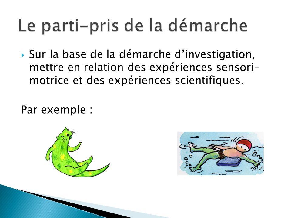 Sur la base de la démarche dinvestigation, mettre en relation des expériences sensori- motrice et des expériences scientifiques. Par exemple :