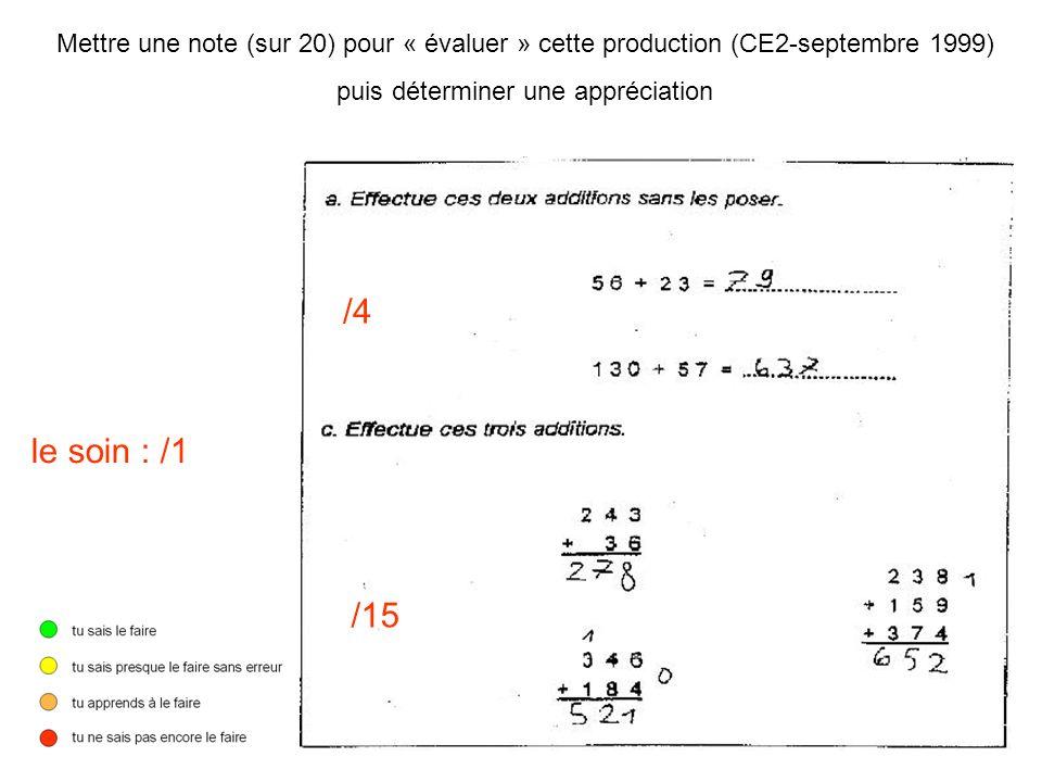 Mettre une note (sur 20) pour « évaluer » cette production (CE2-septembre 1999) puis déterminer une appréciation /4 /15 le soin : /1