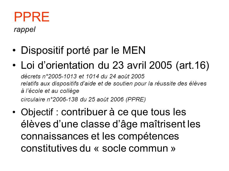 PPRE rappel Dispositif porté par le MEN Loi dorientation du 23 avril 2005 (art.16) décrets n°2005-1013 et 1014 du 24 août 2005 relatifs aux dispositif