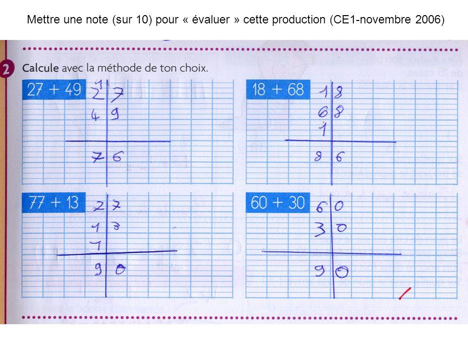 Mettre une note (sur 10) pour « évaluer » cette production (CE1-novembre 2006)