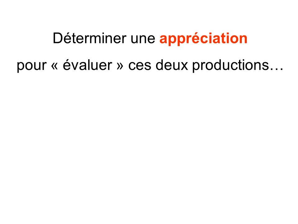 Déterminer une appréciation pour « évaluer » ces deux productions…